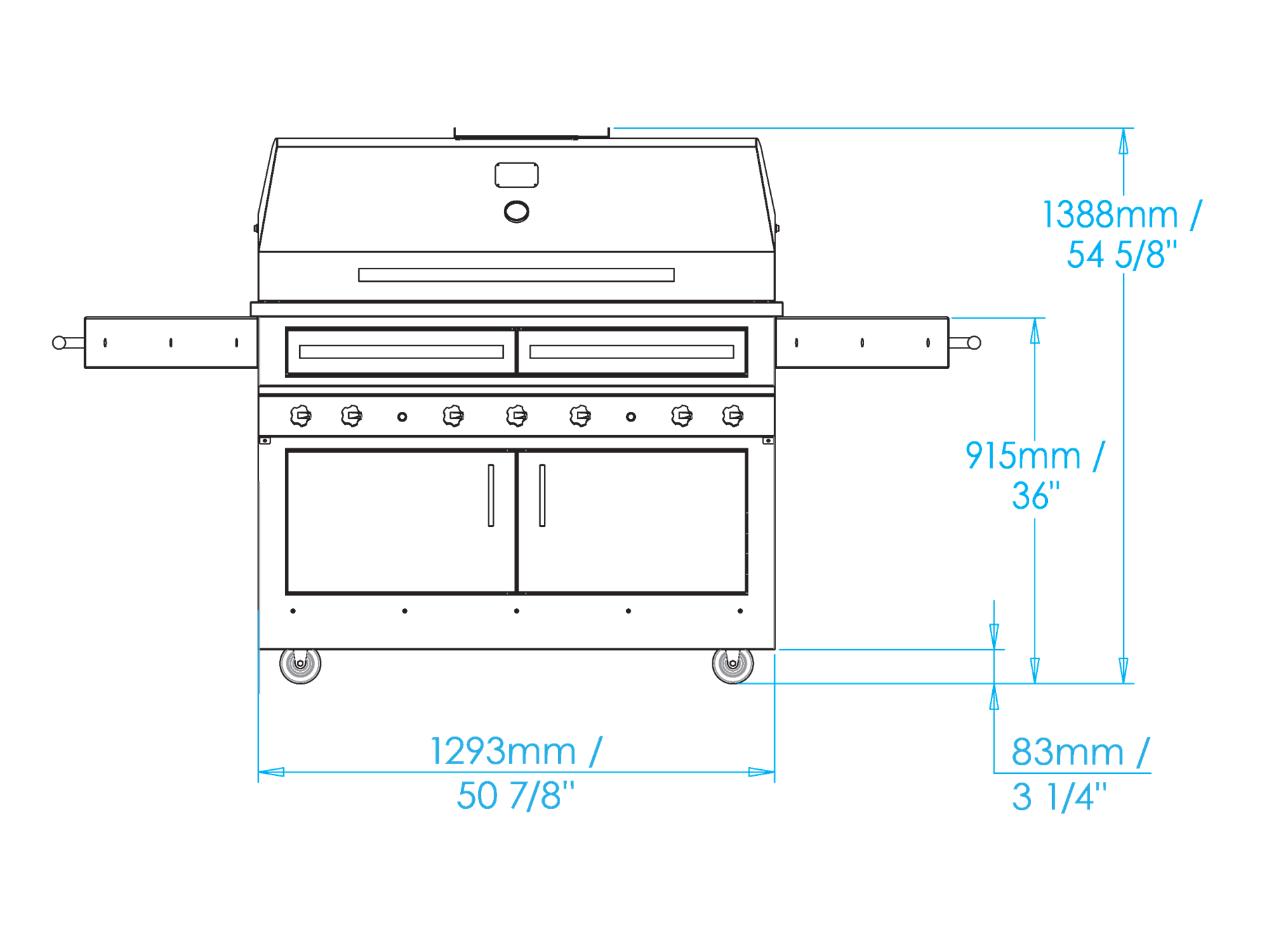 K1000 Freestanding Hybrid Fire Grill Dimensions Image