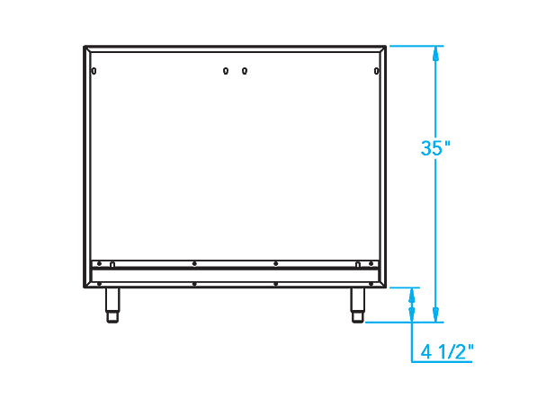 Arcadia K750HB Grill Back Panel Dimensions Image