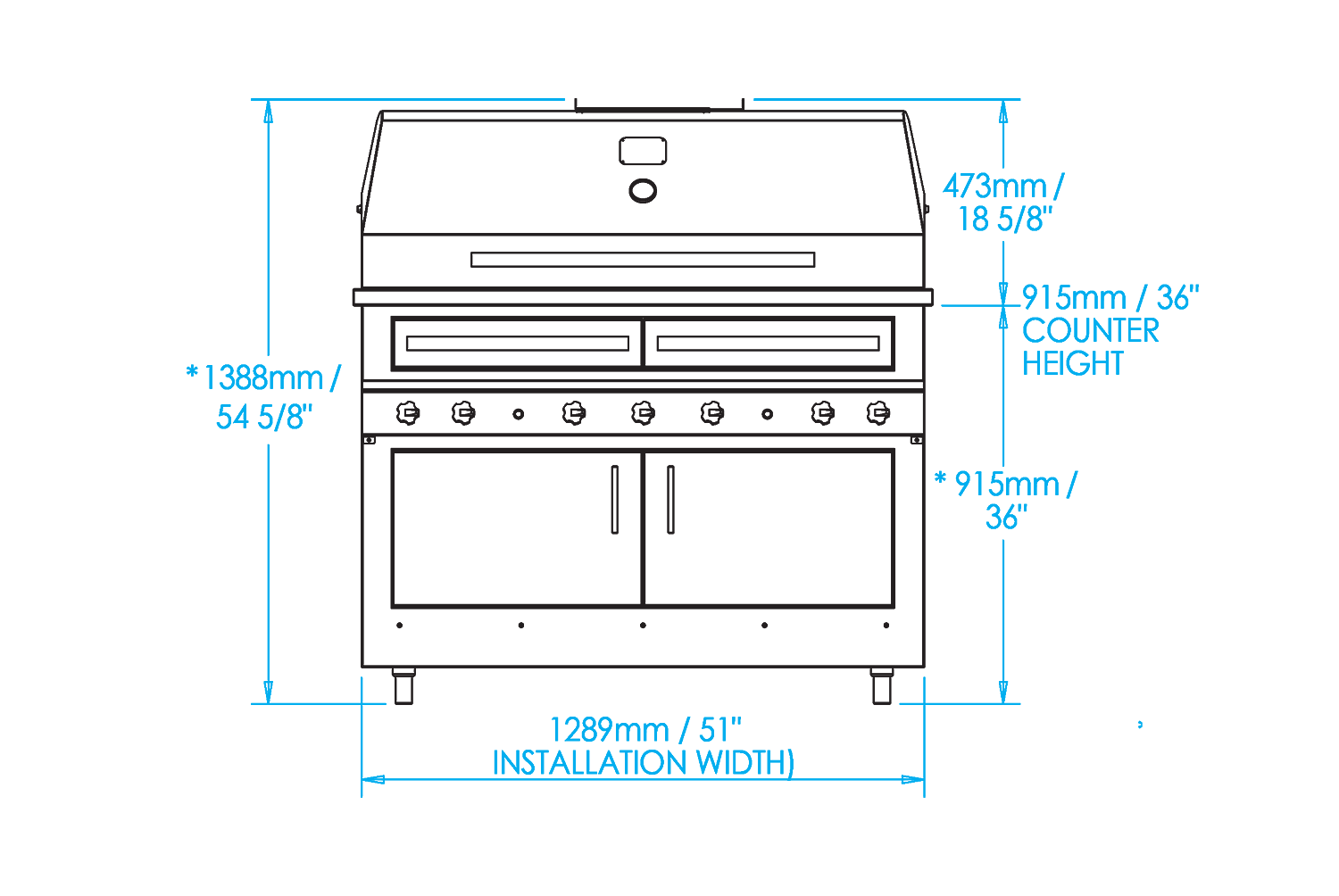 K1000 Built-in Hybrid Fire Grill Dimensions Image