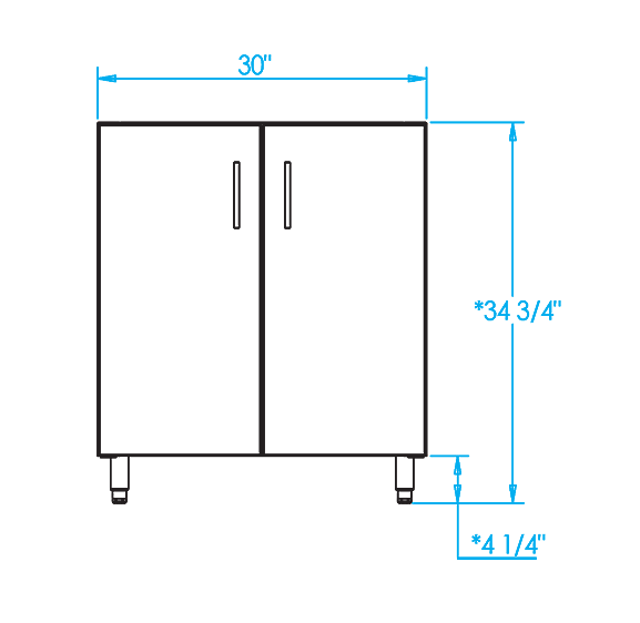 Signature 30-inch Sink Base Cabinet Dimensions Image