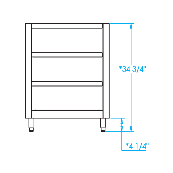 Signature 27-inch Open Shelf Cabinet Dimensions Image