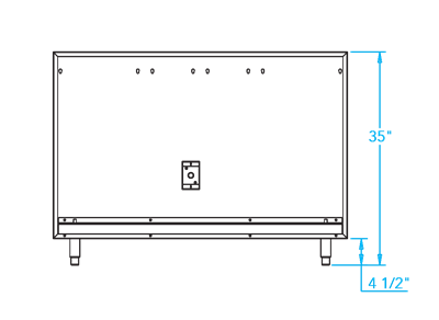 Arcadia 48-inch Appliance Back Panel Dimensions Image