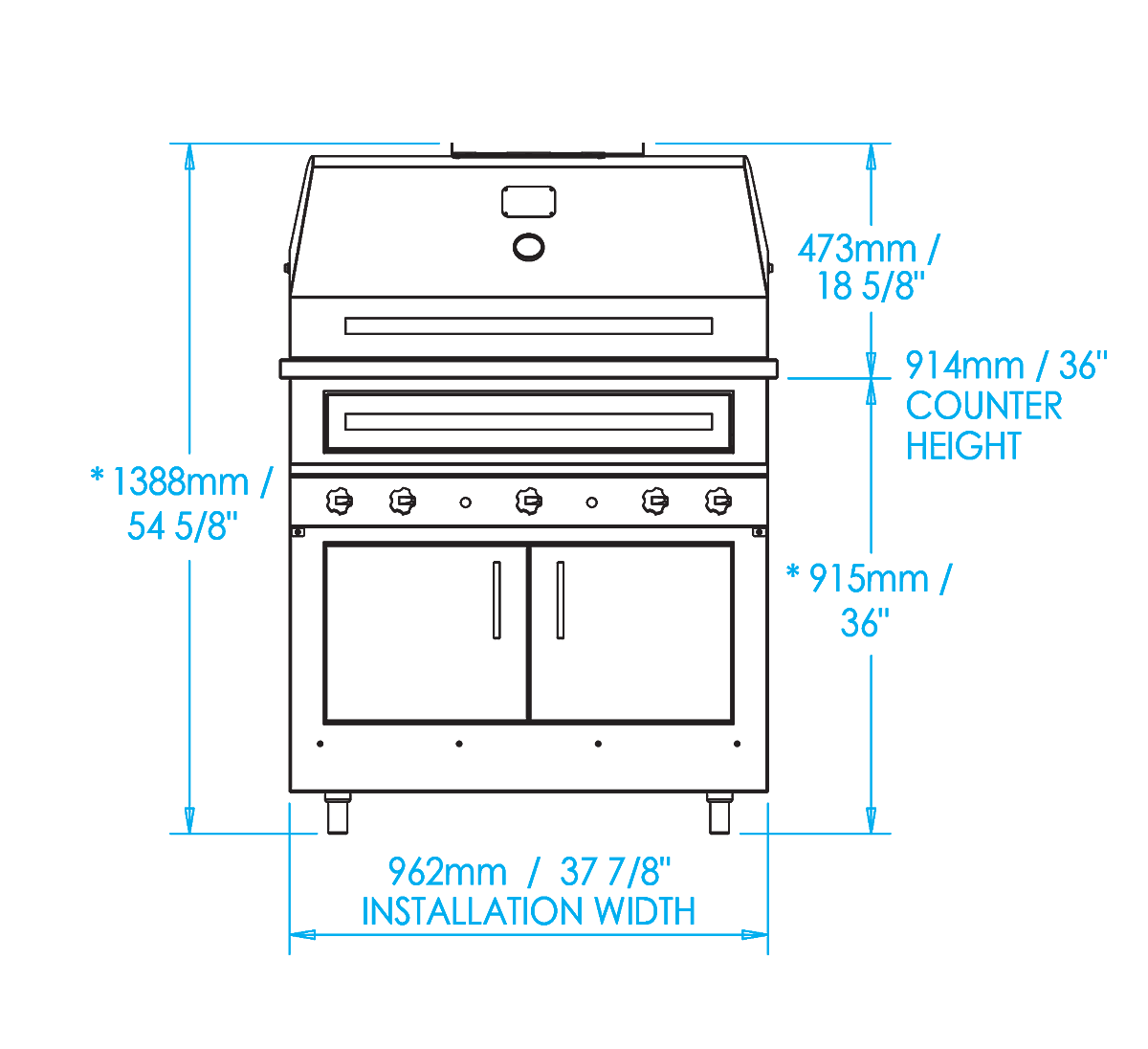 K750 Built-in Hybrid Fire Grill Dimensions Image