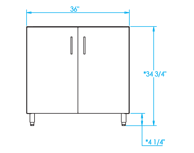 Signature 36-inch Sink Base Cabinet Dimensions Image
