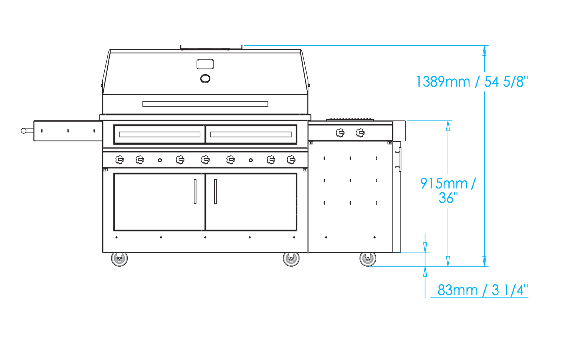 K1000 Freestanding Hybrid Fire Grill with Side Burner Dimensions Image