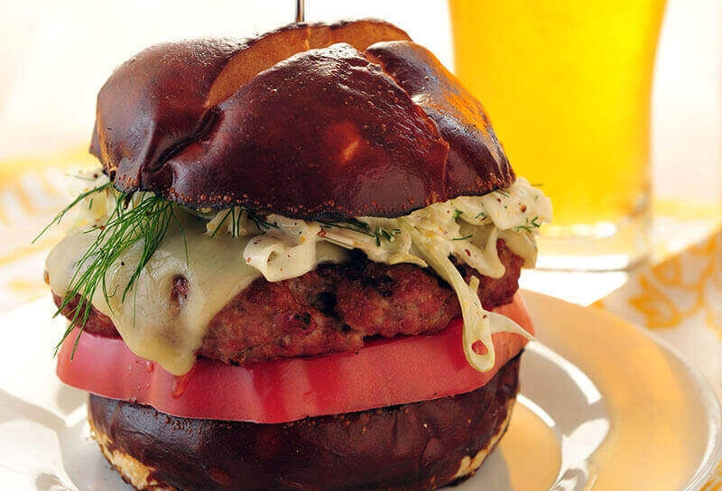 Image of Brat Burgers with Fennel Mustard Seed Slaw