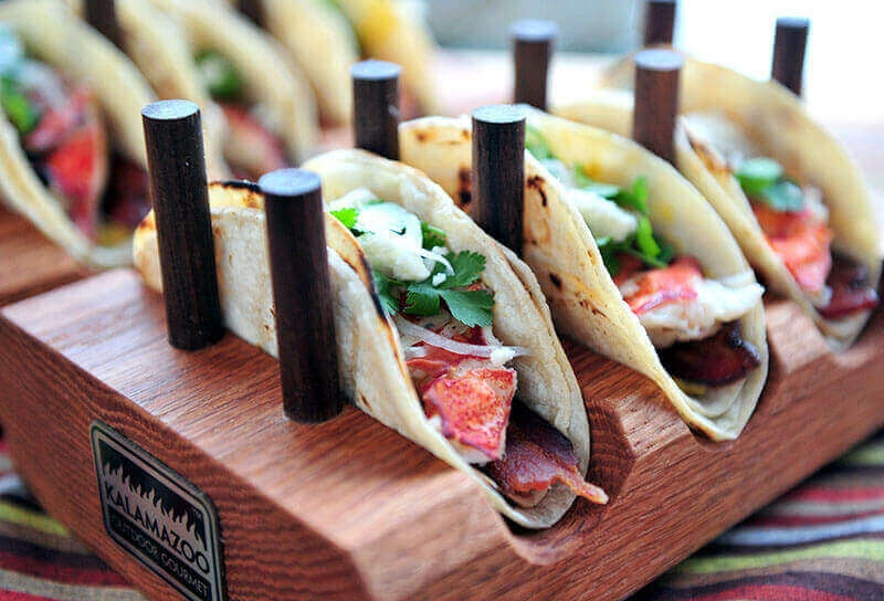 Image of Lobster Tacos with Roasted Squash and Poblano Cream Sauce