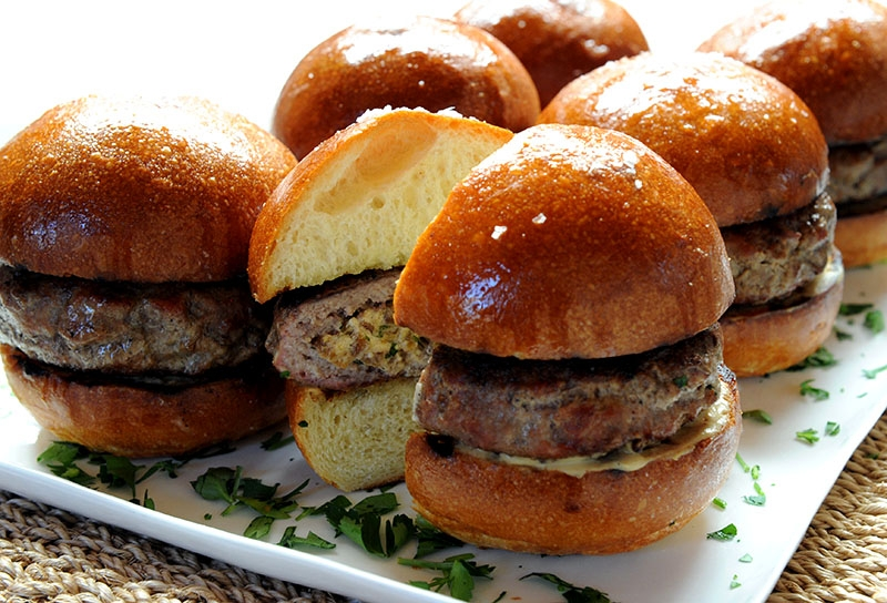 Image of Stuffed Lamb Burgers with Apricots and Goat Cheese