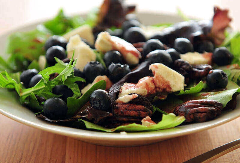Image of Blueberry and Goat Cheese Salad with Mixed Baby Greens