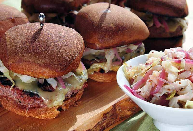 Image of Corned Beef Burgers with Wilted Cabbage Slaw