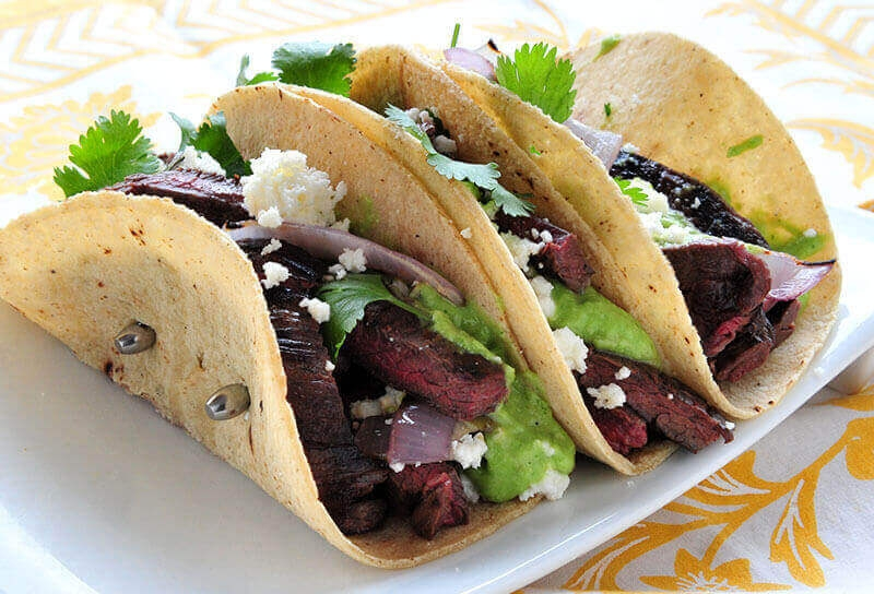 Image of Elk Skirt Steak Tacos with Tomatillo Avocado Sauce