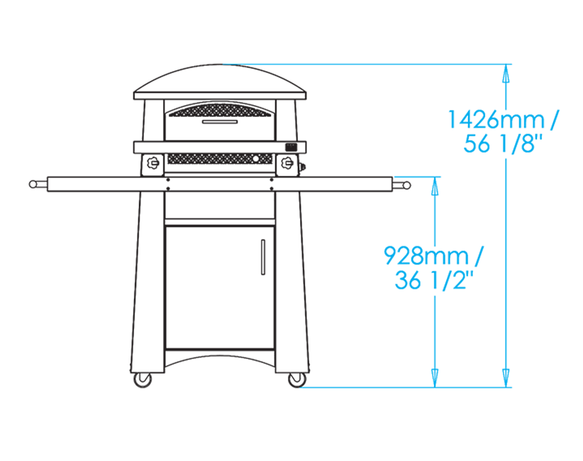 Artisan Fire Pizza Oven Cart Dimensions Image