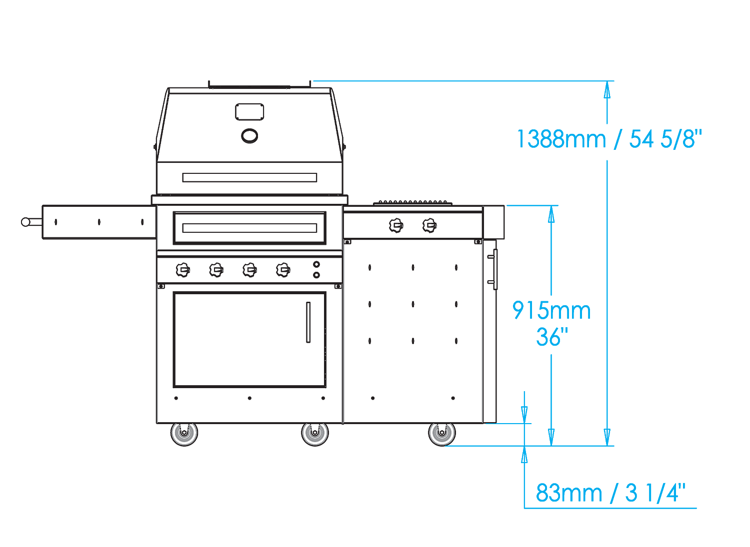 K500 Freestanding Hybrid Fire Grill with Side Burner Dimensions Image