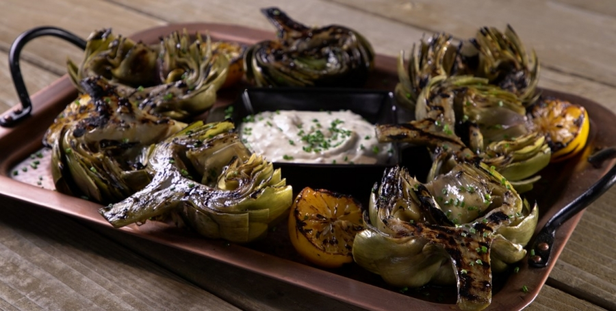 Image of Wood-Grilled Artichokes with Cumin-Scented Aioli