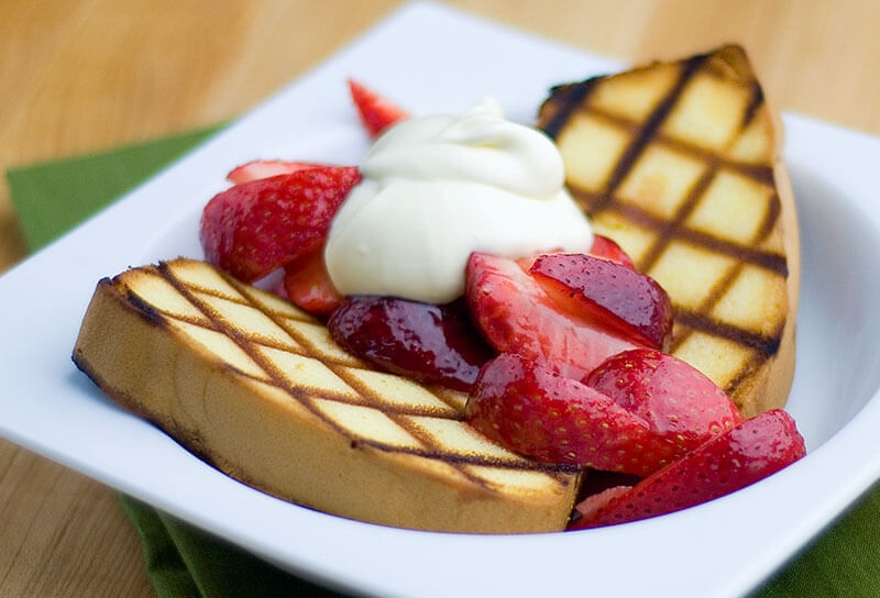 Image of Caramel Strawberries with Grilled Pound Cake and Crème Fraîche