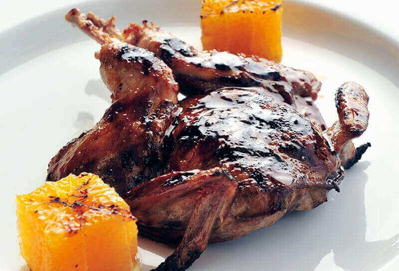 Image of Grilled Quail with Cranberry Marsala Glaze and Clementines