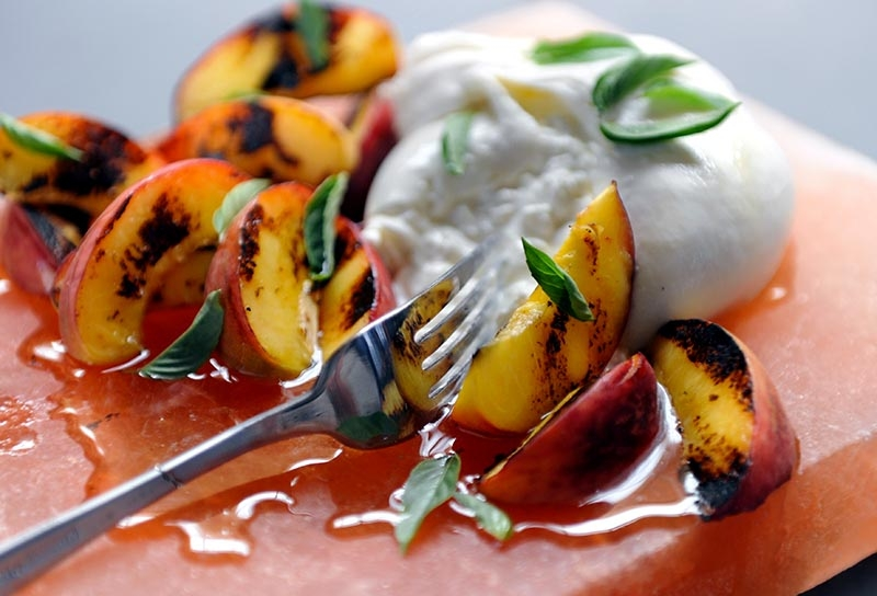 Image of Grilled Peaches with Burrata, Thai Basil and Chile-Infused Honey